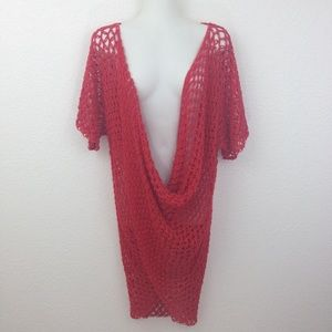 Other - Crochet Swim Coverup Red Pullover one size